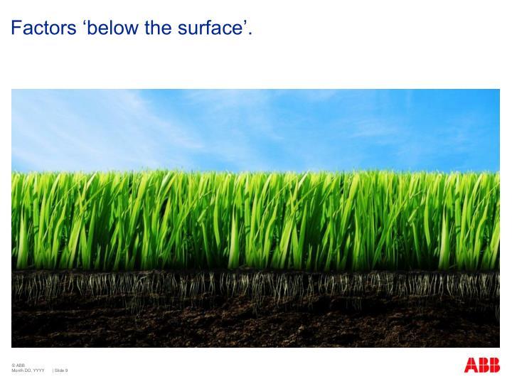 Factors 'below the surface'.