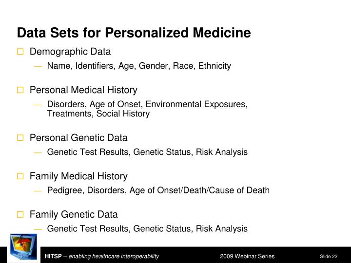 Data Sets for Personalized Medicine