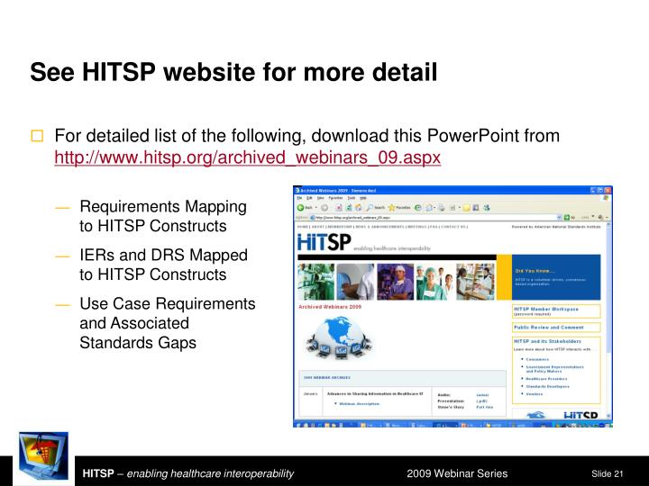 See HITSP website for more detail