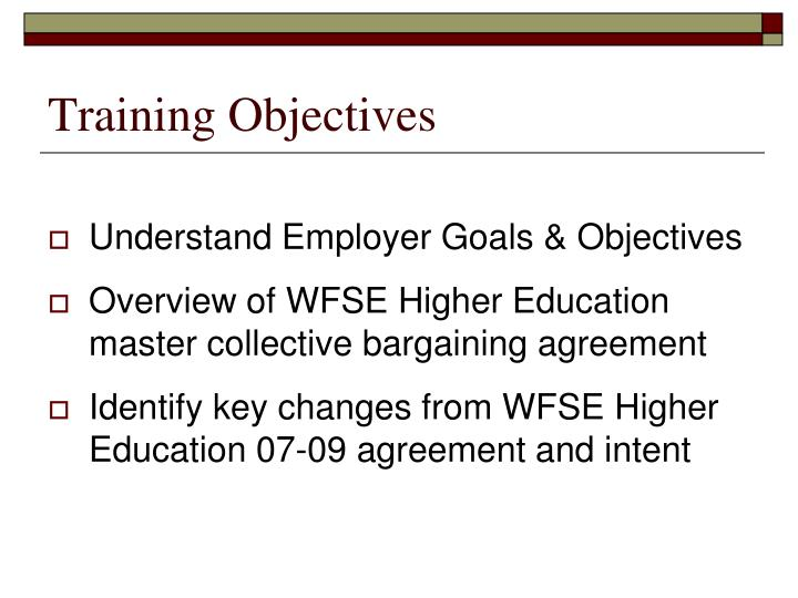 training objectives n.