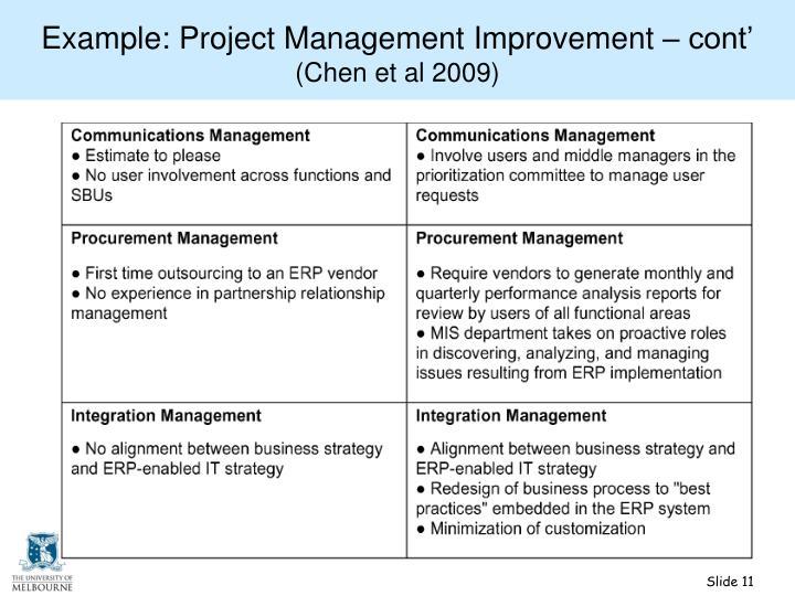 Example: Project Management Improvement – cont'