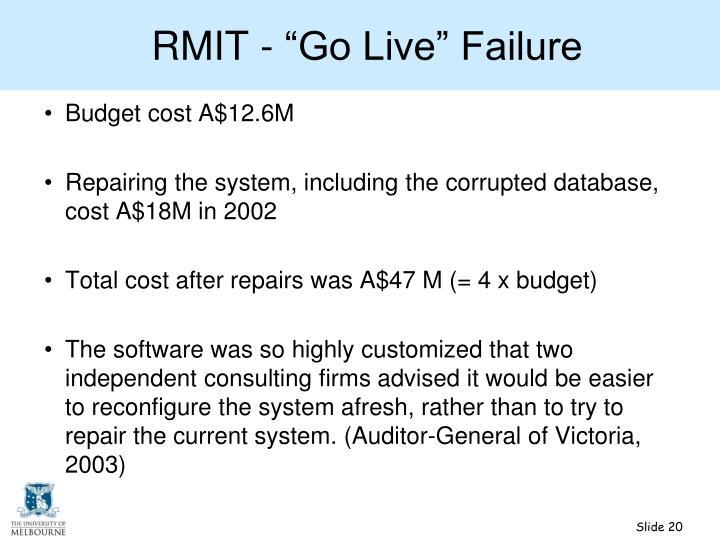 "RMIT - ""Go Live"" Failure"