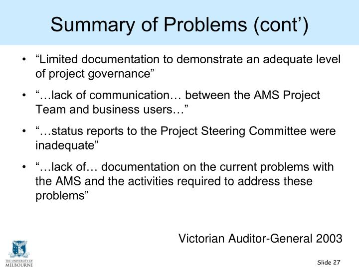 Summary of Problems (cont')