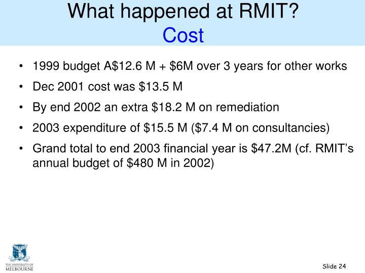 What happened at RMIT?