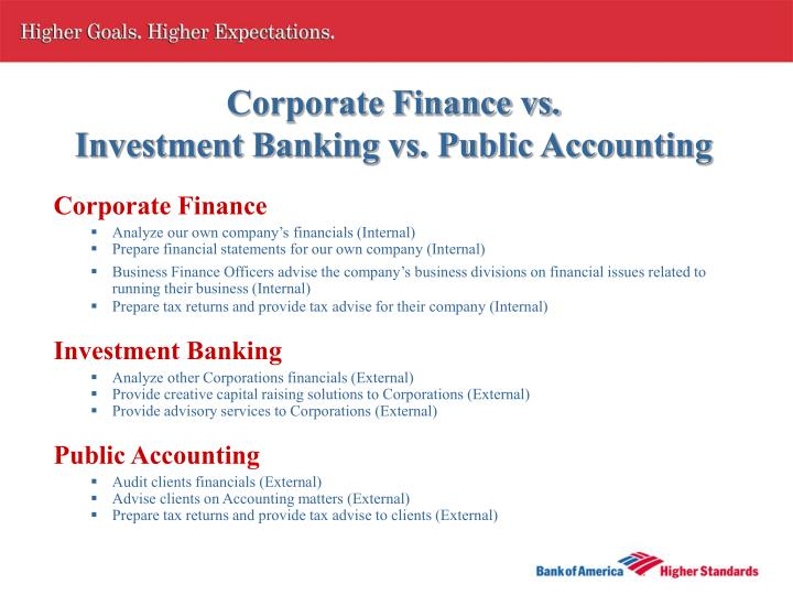 Corporate finance vs investment banking vs public accounting