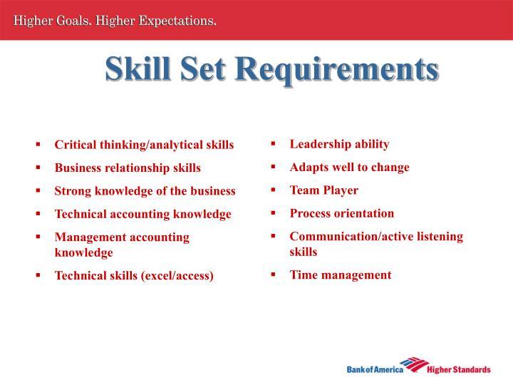 Skill Set Requirements
