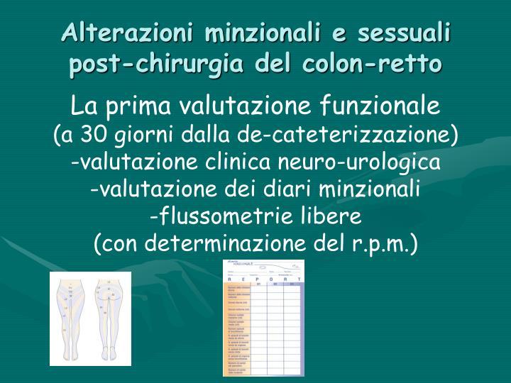 Alterazioni minzionali e sessuali post-chirurgia del colon-retto