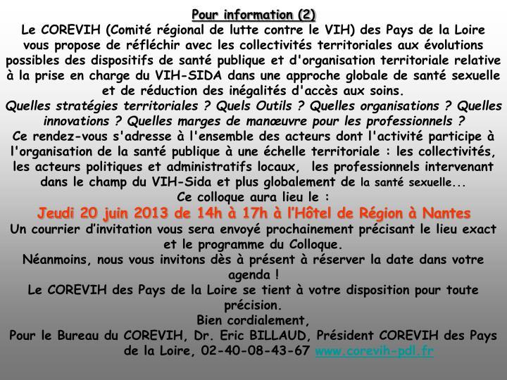 Pour information (2)