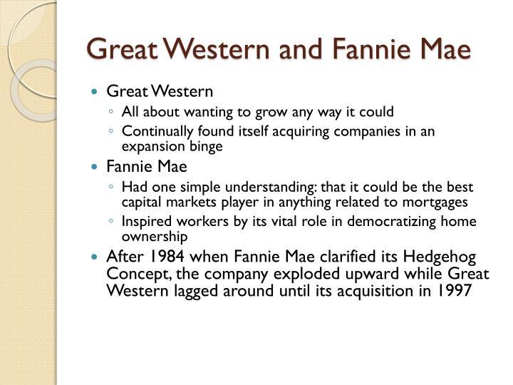 Great Western and Fannie Mae