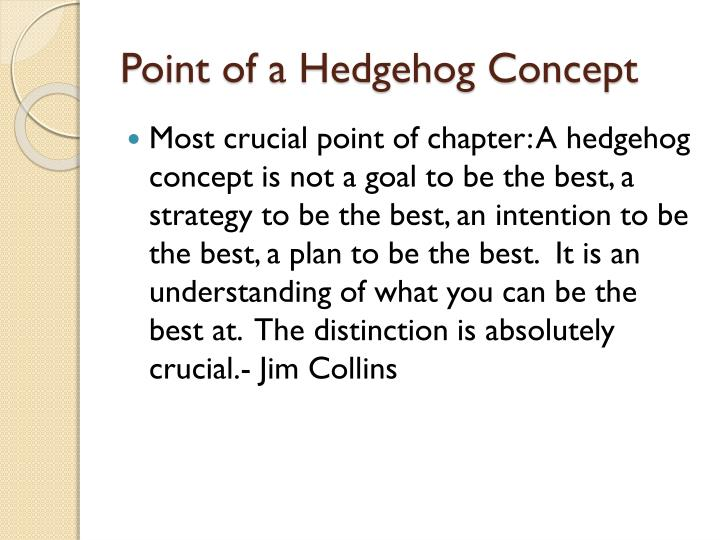 Point of a Hedgehog Concept