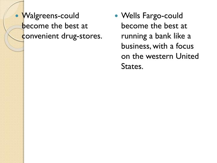Walgreens-could become the best at convenient drug-stores.