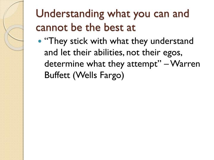 Understanding what you can and cannot be the best at