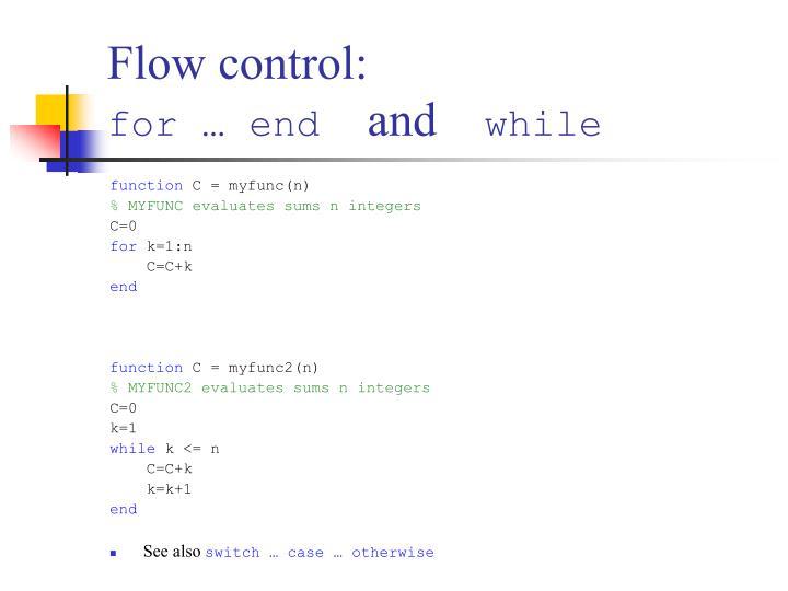 Flow control: