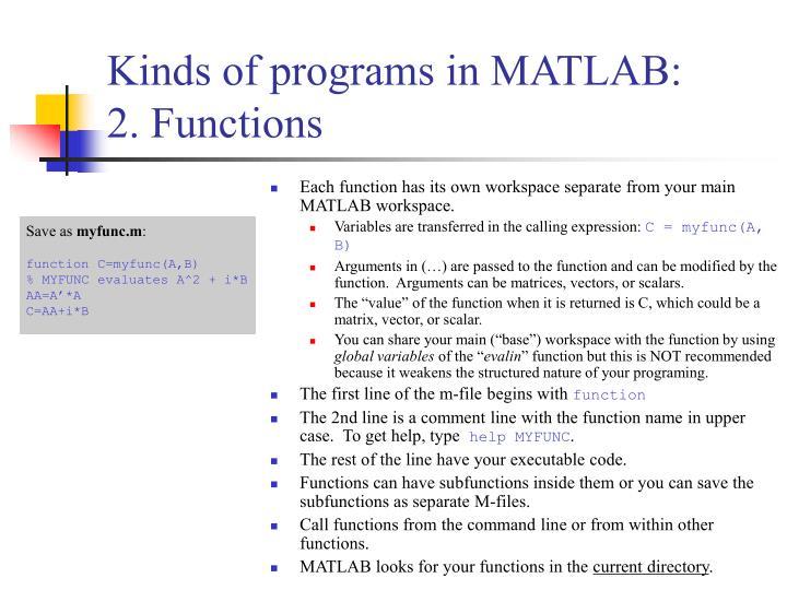 Kinds of programs in MATLAB: