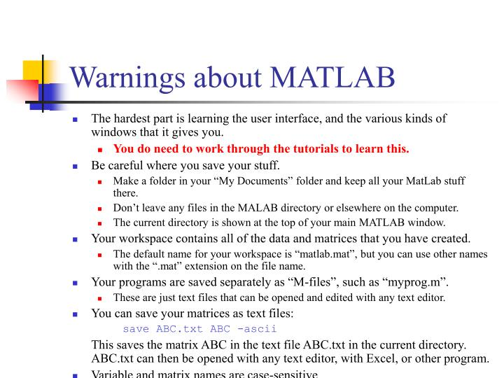 Warnings about matlab
