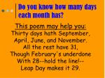 do you know how many days each month has
