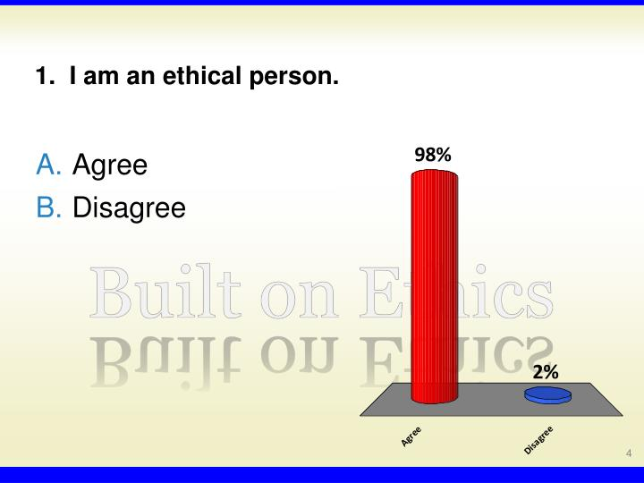 1.  I am an ethical person.