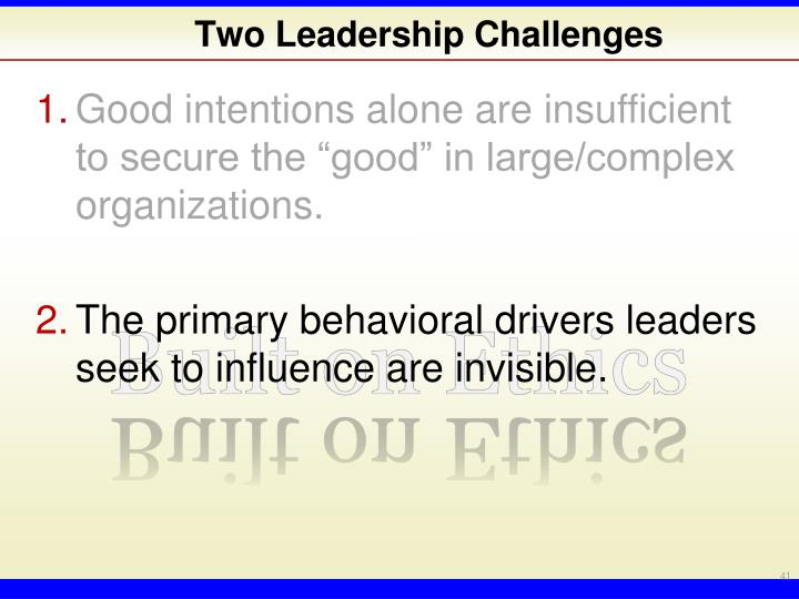 Two Leadership Challenges