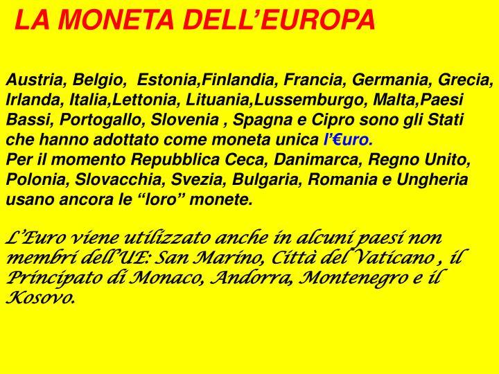 LA MONETA DELL'EUROPA