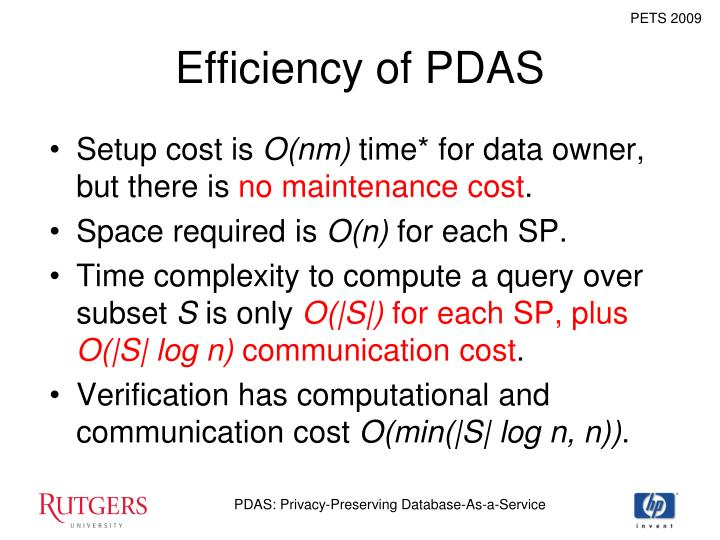 Efficiency of PDAS