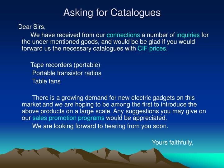 Asking for Catalogues