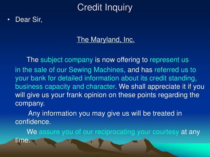 Credit Inquiry