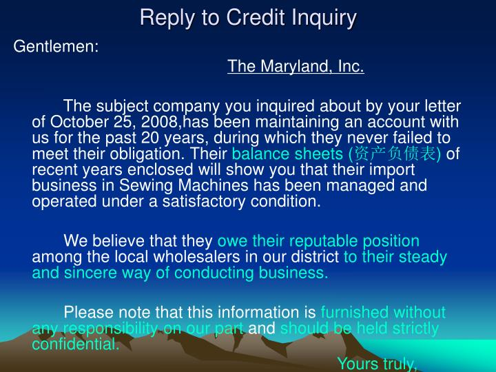 Reply to Credit Inquiry