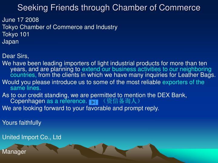 Seeking Friends through Chamber of Commerce