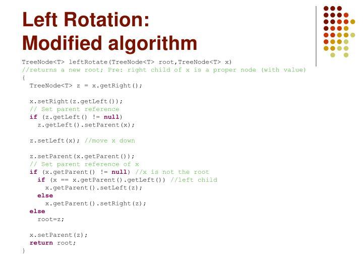 Left Rotation: