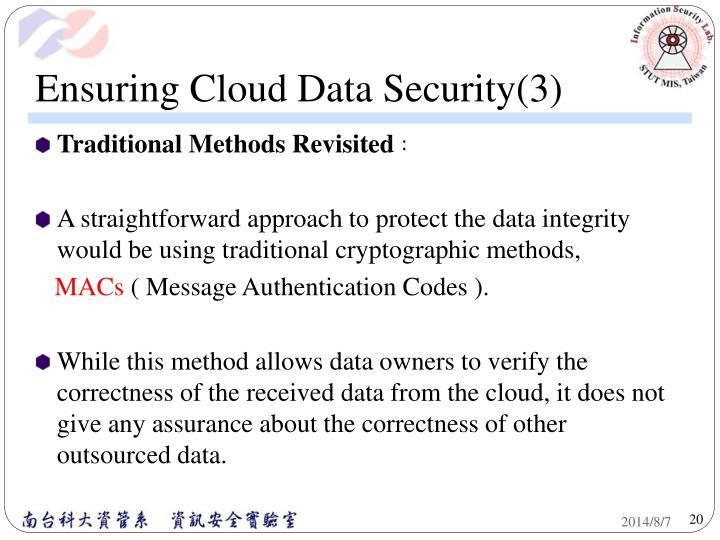 Ensuring Cloud Data Security(3)