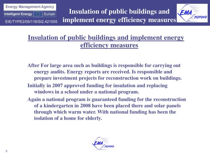 Insulation of public buildings and implement energy efficiency measures1