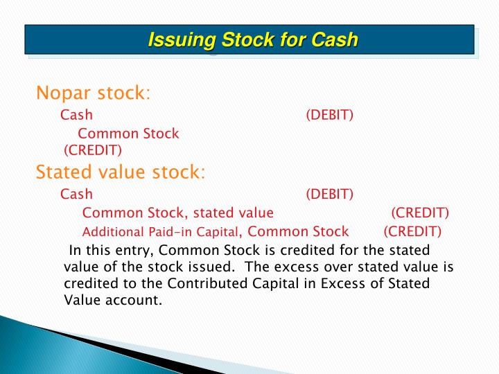 Issuing Stock for Cash