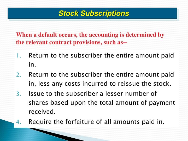 Stock Subscriptions