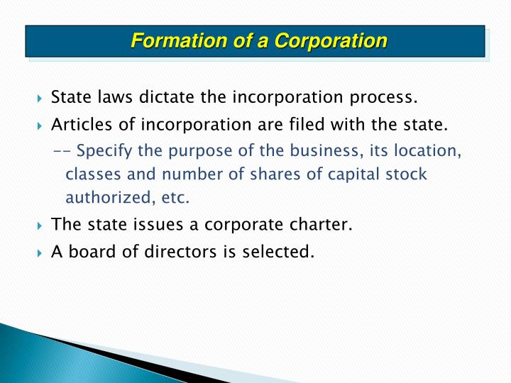 Formation of a Corporation
