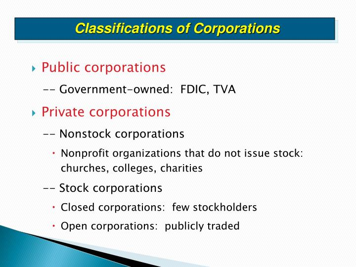 Classifications of Corporations