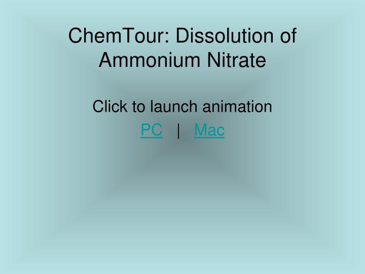 ChemTour: Dissolution of Ammonium Nitrate