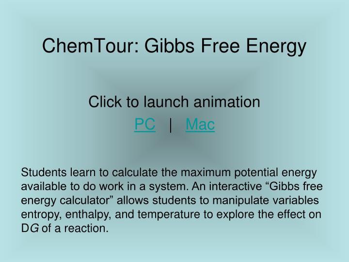 ChemTour: Gibbs Free Energy