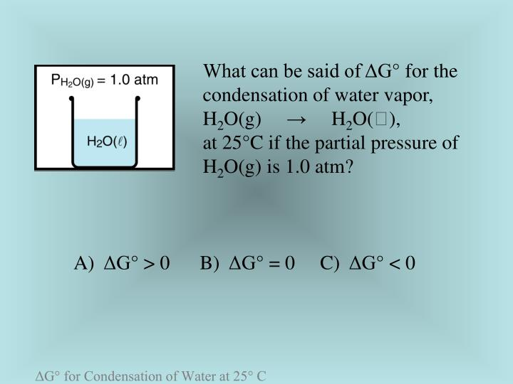 What can be said of ΔG° for the condensation of water vapor,