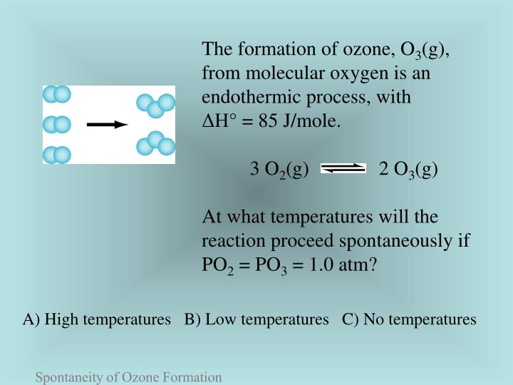 The formation of ozone, O