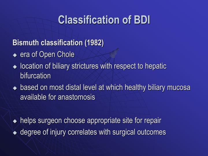Classification of BDI