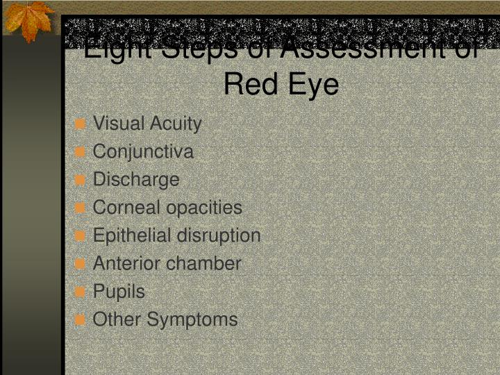 Eight steps of assessment of red eye