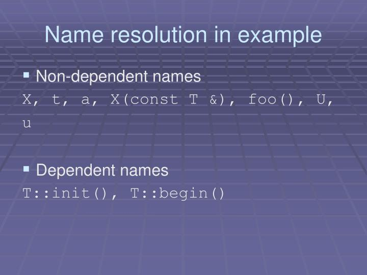 Name resolution in example