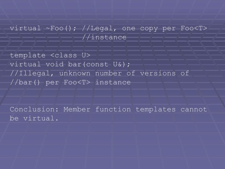 virtual ~Foo(); //Legal, one copy per Foo<T>