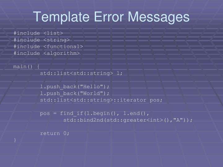 Template Error Messages