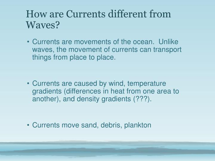 How are Currents different from Waves?