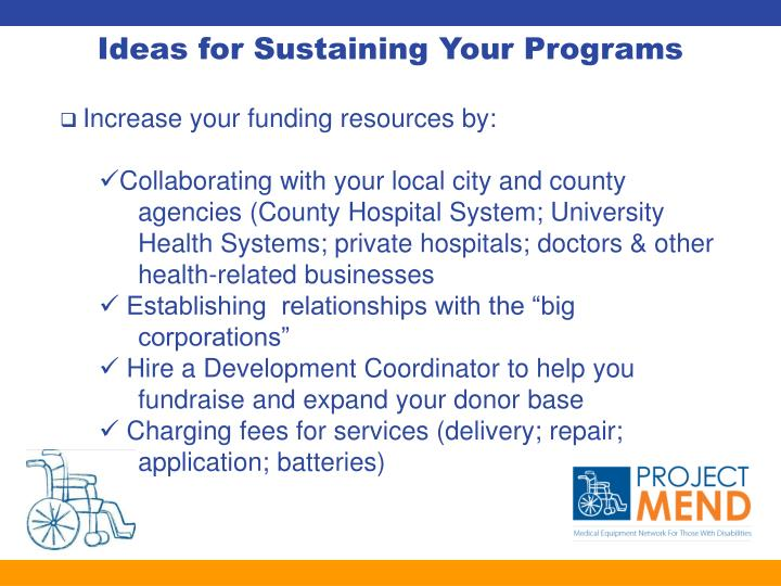 Ideas for Sustaining Your Programs