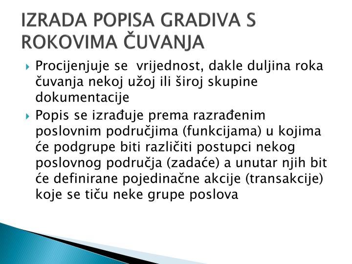 IZRADA POPISA GRADIVA S ROKOVIMA ČUVANJA