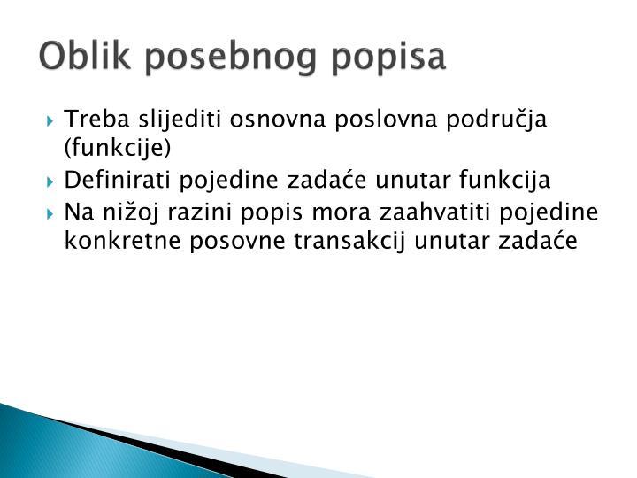 Oblik posebnog popisa