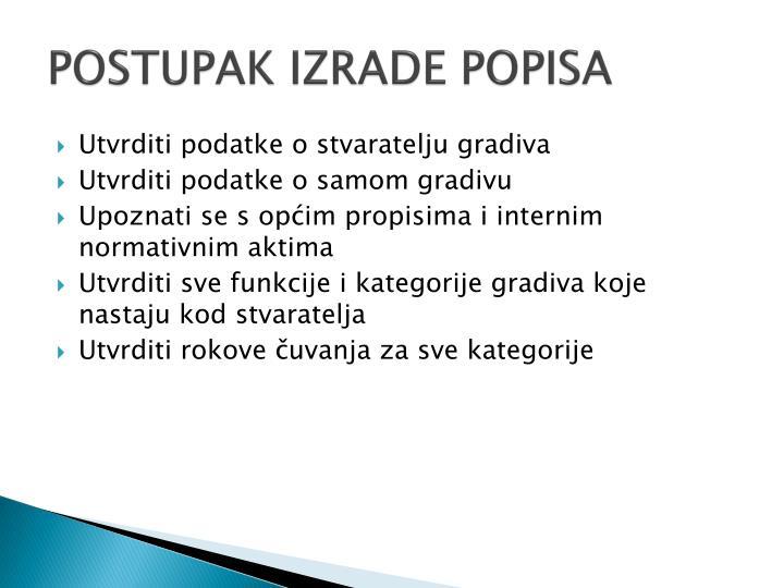 POSTUPAK IZRADE POPISA