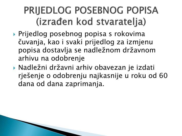 PRIJEDLOG POSEBNOG POPISA